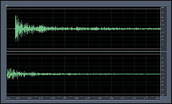 """Figure 2a-b. Transient response for a broadband microphone. Top (2a): Output from a broadband microphone. Bottom (2b): """"Knife hitting Ceramic"""" input to a broadband microphone (boosted 20 dB)."""