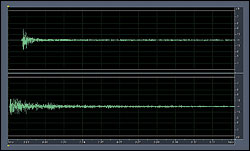 """Figure 3a-b. Transient response for a high frequency (HF) microphone. Top (3a): Output from HF microphone. Bottom (3b): """"Knife hitting Ceramic"""" input to HF microphone (boosted 20 dB)."""